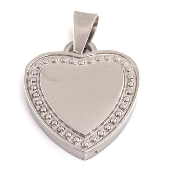 Detailed Stainless Steel Heart Pendant-SBB0086