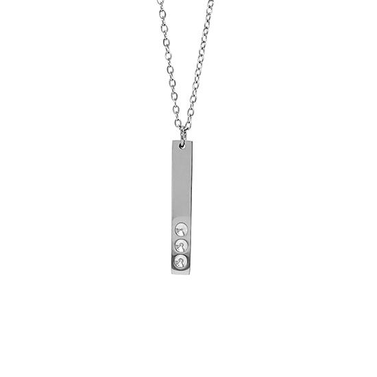 Vertical polished stainless steel stampable necklace with three holes for birthstones hanging.