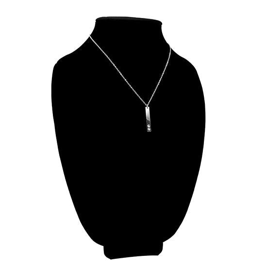 Vertical polished stainless steel stampable necklace with two holes for birthstones on a black velvet bust.