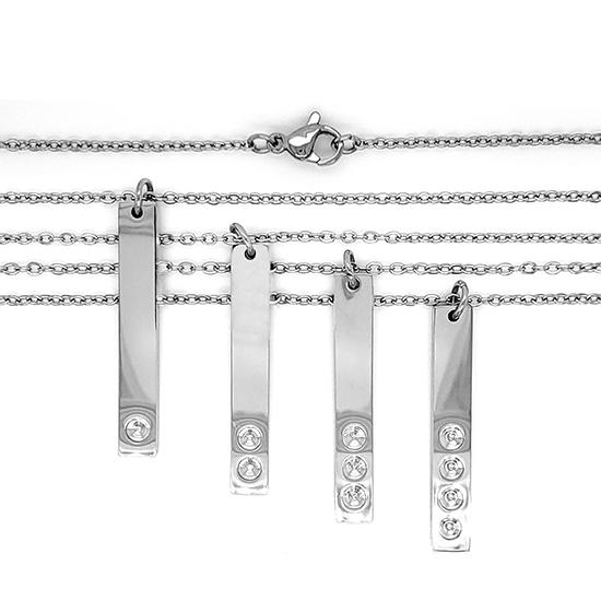 Vertical polished stainless steel stampable necklace with different amounts of holes for birthstones.
