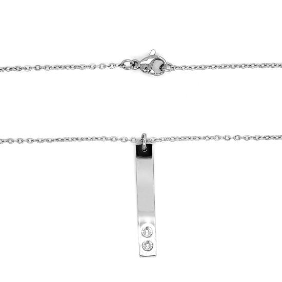 Vertical polished stainless steel stampable necklace with two holes for birthstones.