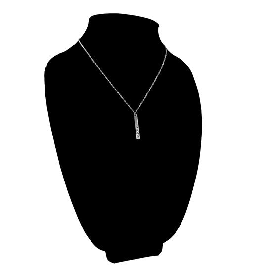 Vertical polished stainless steel stampable necklace with four holes for birthstones on a black velvet bust.