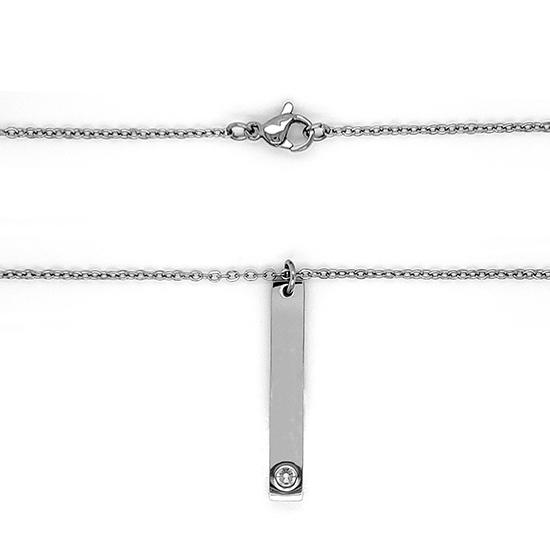 Vertical polished stainless steel stampable necklace with one hole for a birthstone.