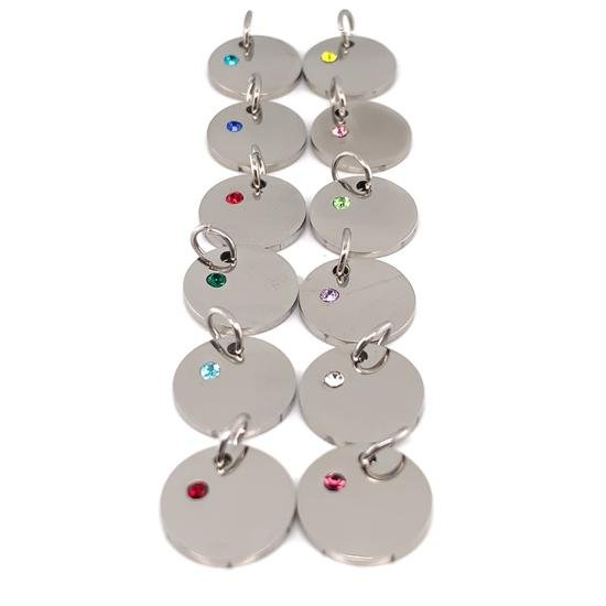 CZ Birthstone On Blank Polished Stainless Steel Round Pendant-SBB109