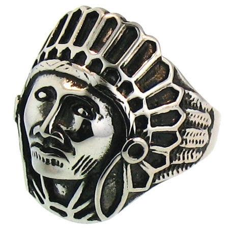 Detailed Indian Chief Stainless Steel Ring-SCR3048