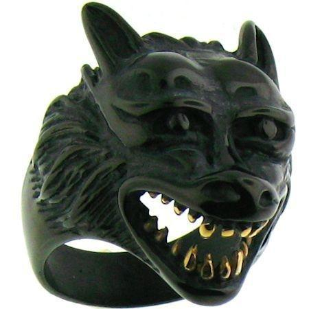 Black Wolf With Gold Teeth Stainless Steel Ring-SCR3076