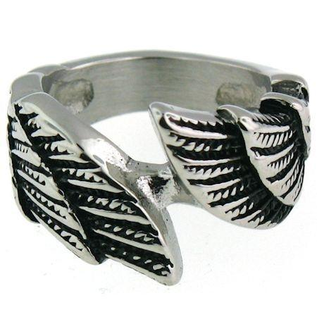 Large Detailed Wings Stainless Steel Ring-SCR4013