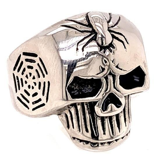 Detailed Skull With Spider And Web Accents Stainless Steel Ring-SCR4025