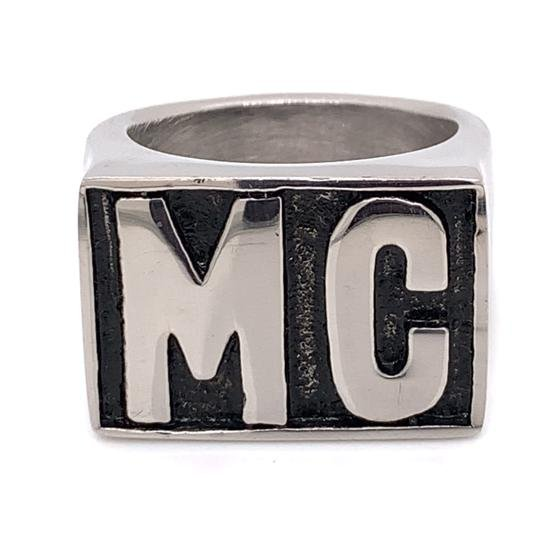 "Motorcycle Club ""MC"" Insignia Stainless Steel Ring-SCR4055"