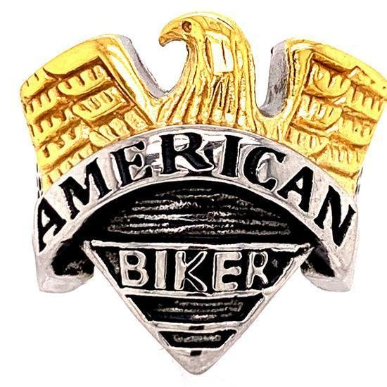 """AMERICAN BIKER"" With Gold Eagle Accent Stainless Steel Ring-SCR4074"