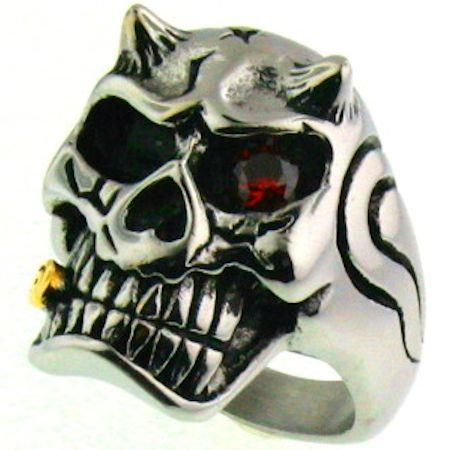 Detailed Skull Devil With Red CZ Eye Stone And Gold Cigar Stainless Steel Ring-SCR4084