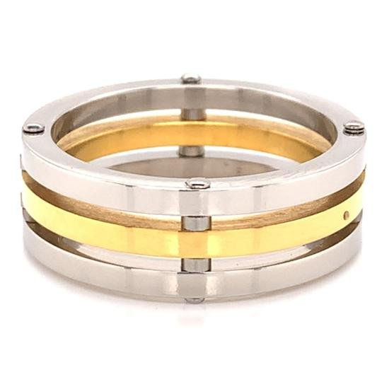 Gold Plated Spaced Stainless Steel Ring-SSS0260