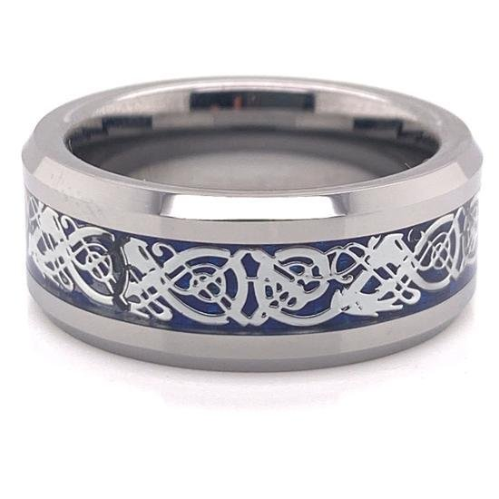 Tungsten Blue Decorative Center Comfort Fit Ring-TGR1011