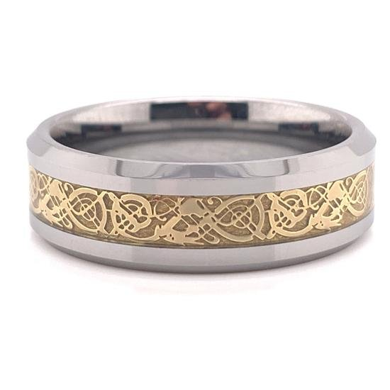Tungsten Gold Decorative Center Comfort Fit Ring-TGR1012