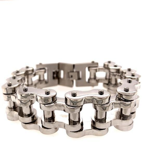 Stainless Steel Chunky Polished Biker Chain Bracelet-WCB1016