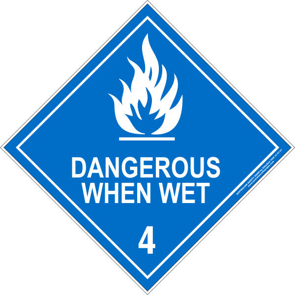 CLASS 4 - DANGEROUS WHEN WET - WHITE