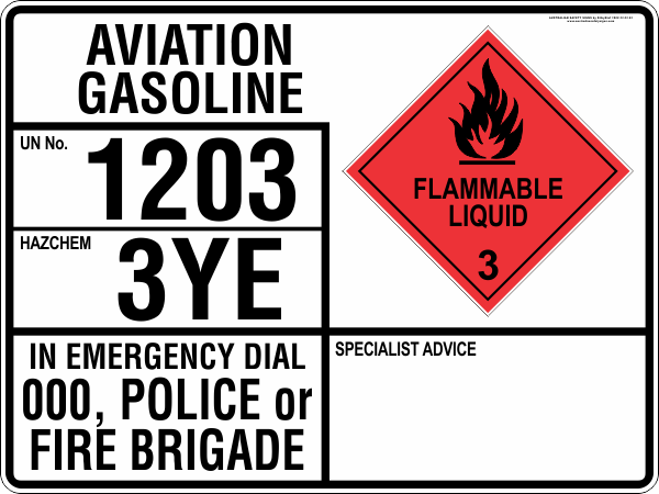 EMERGENCY INFORMATION PANEL - AVIATION GASOLINE