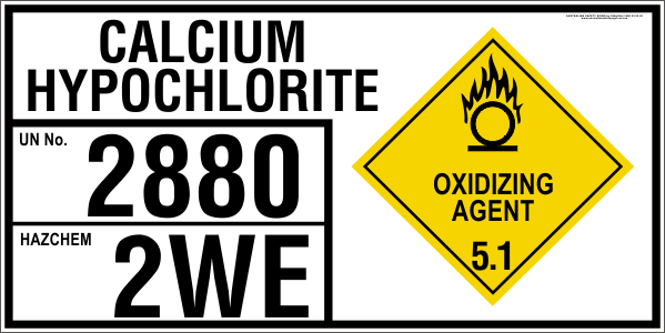 CALCIUM HYPOCHLORITE - EMERGENCY INFORMATION PANEL - FOR STORAGE