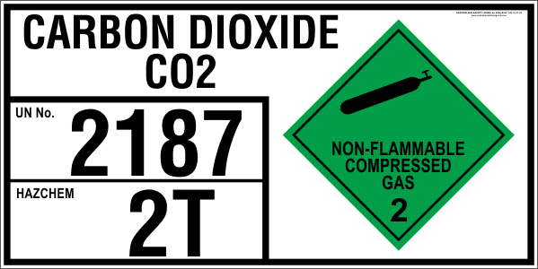 CARBON DIOXIDE CO2 - EMERGENCY INFORMATION PANEL - FOR STORAGE