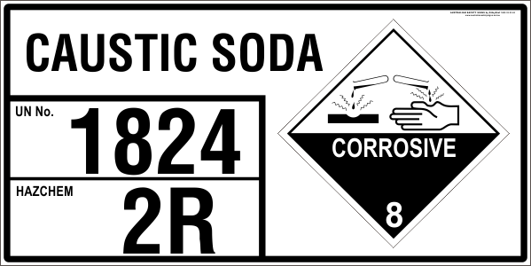 CAUSTIC SODA - EMERGENCY INFORMATION PANEL - FOR STORAGE