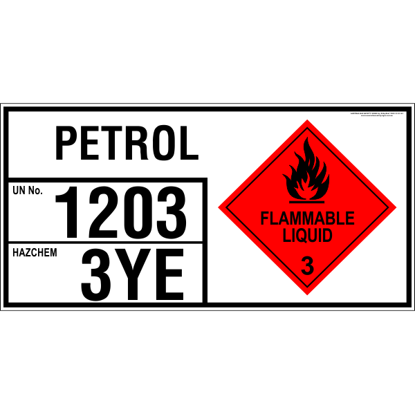 PETROL - EMERGENCY INFORMATION PANEL - FOR STORAGE