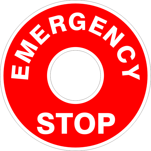 EMERGENCY STOP Button Surround Sticker