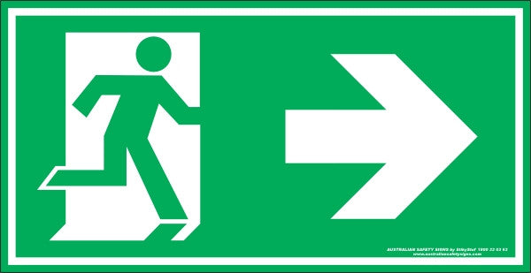 Exit Symbol Right Arrow Australian Safety Signs