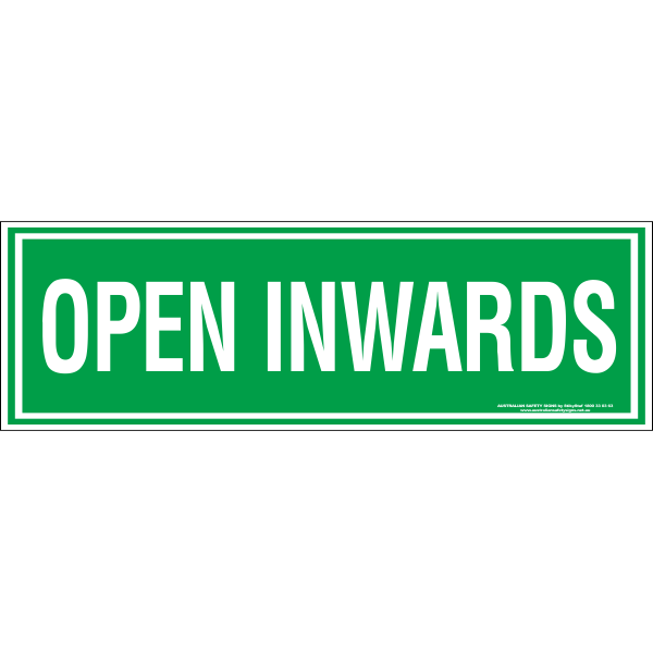 OPEN INWARDS sticker
