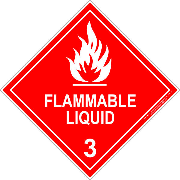 CLASS 3 - FLAMMABLE LIQUID - WHITE