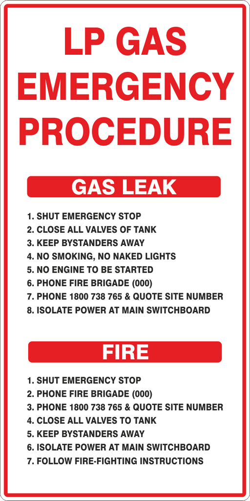 LP GAS EMERGENCY PROCEDURE