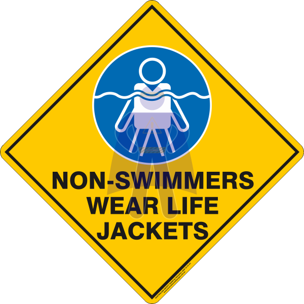 NON-SWIMMERS WEAR LIFE JACKETS