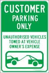 CUSTOMER PARKING ONLY parking sign