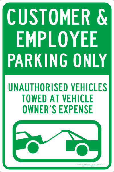 CUSTOMER & EMPLOYEE PARKING ONLY