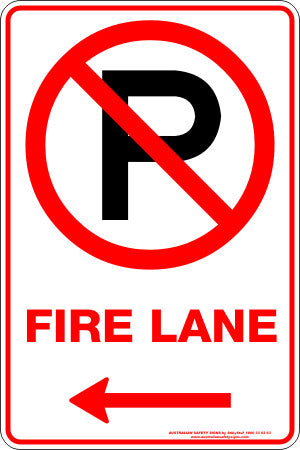FIRE LANE P LEFT ARROW