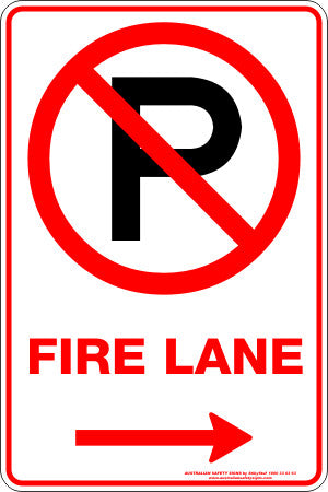 FIRE LANE P RIGHT ARROW