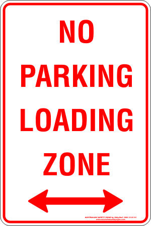 NO PARKING LOADING ZONE SPAN ARROW