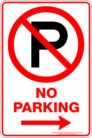 NO PARKING P RIGHT ARROW