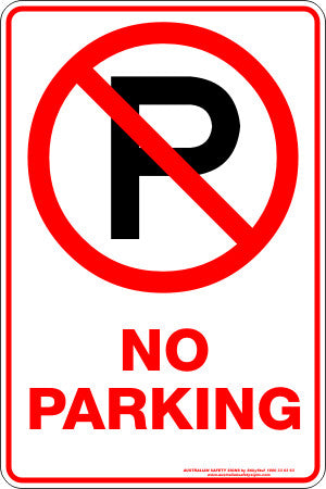 No Parking P Australian Safety Signs