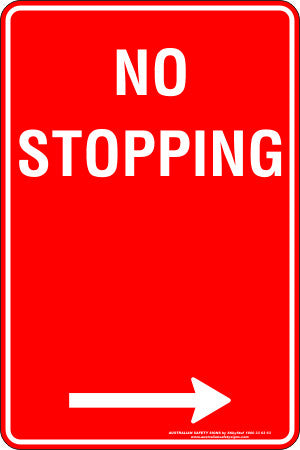 NO STOPPING RIGHT ARROW