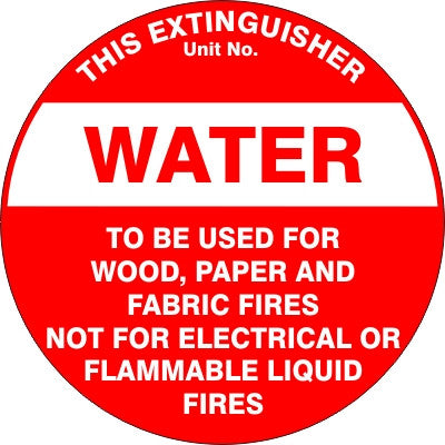 EXTINGUISHER ID MARKER WATER