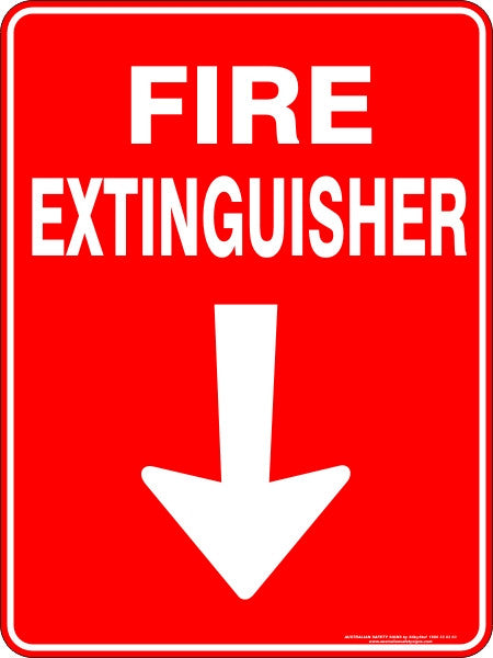Fire Extinguisher Arrow Down Australian Safety Signs