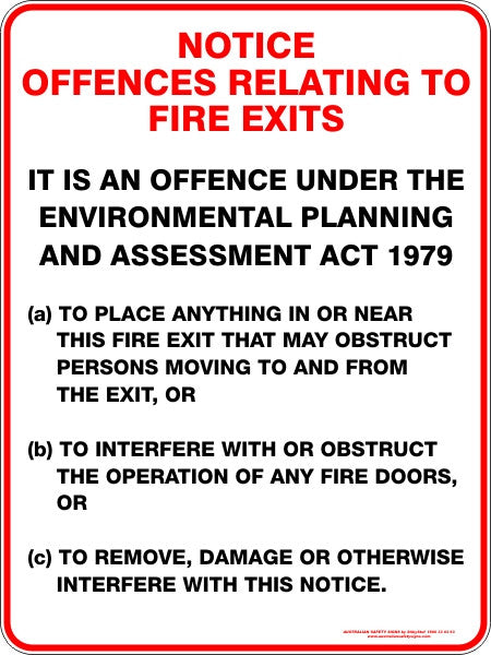 NOTICE OFFENCES RELATING TO FIRE EXITS