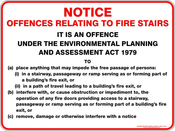 NOTICE OFFENCES RELATING TO FIRE STAIRS