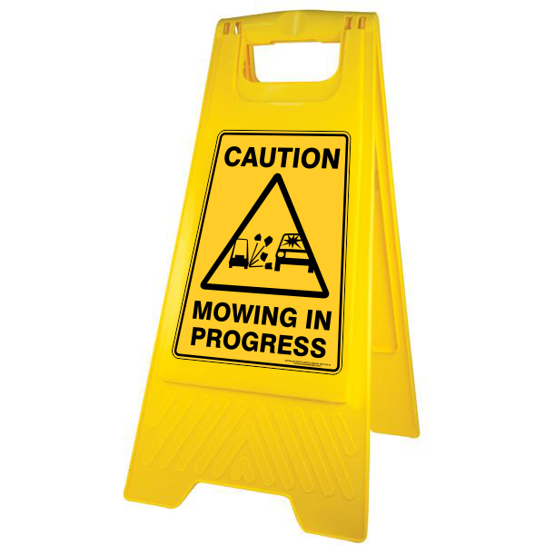 New Caution Mowing in Progress Sign Stand