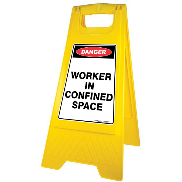 NEW DANGER - WORKER IN CONFINED SPACE A-FRAME FLOOR SIGN