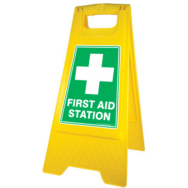 NEW FIRST AID STATION - A-FRAME FLOOR SIGN