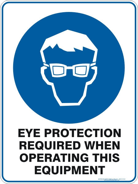 EYE PROTECTION REQUIRED WHEN OPERATING THIS EQUIPMENT