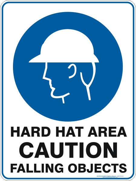 HARD HAT AREA CAUTION FALLING OBJECTS