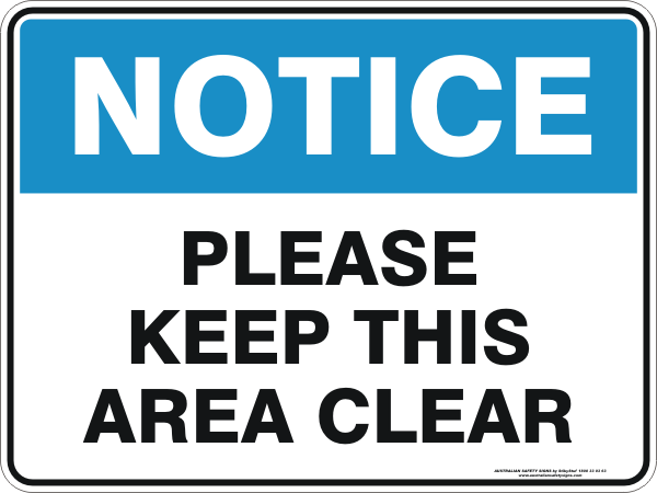 PLEASE KEEP THIS AREA CLEAR