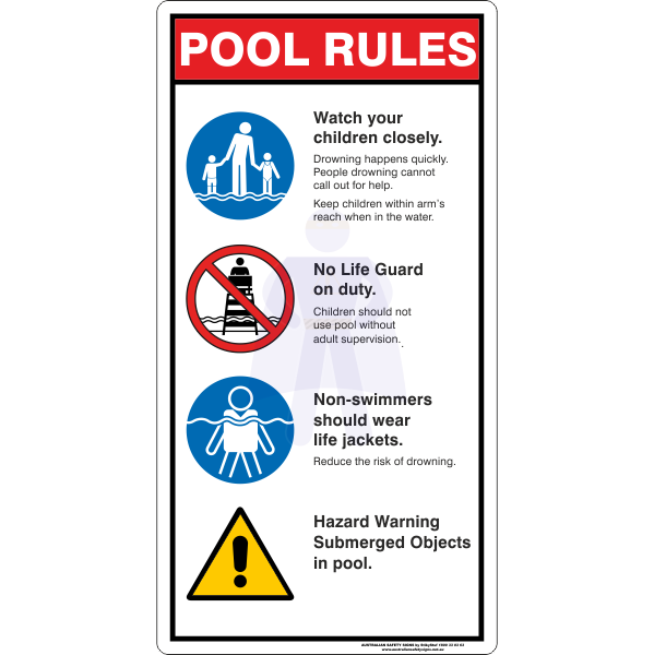 POOL RULES SIGN - A
